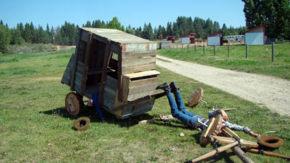 Stagecoach disassembled at Zion Stage Line