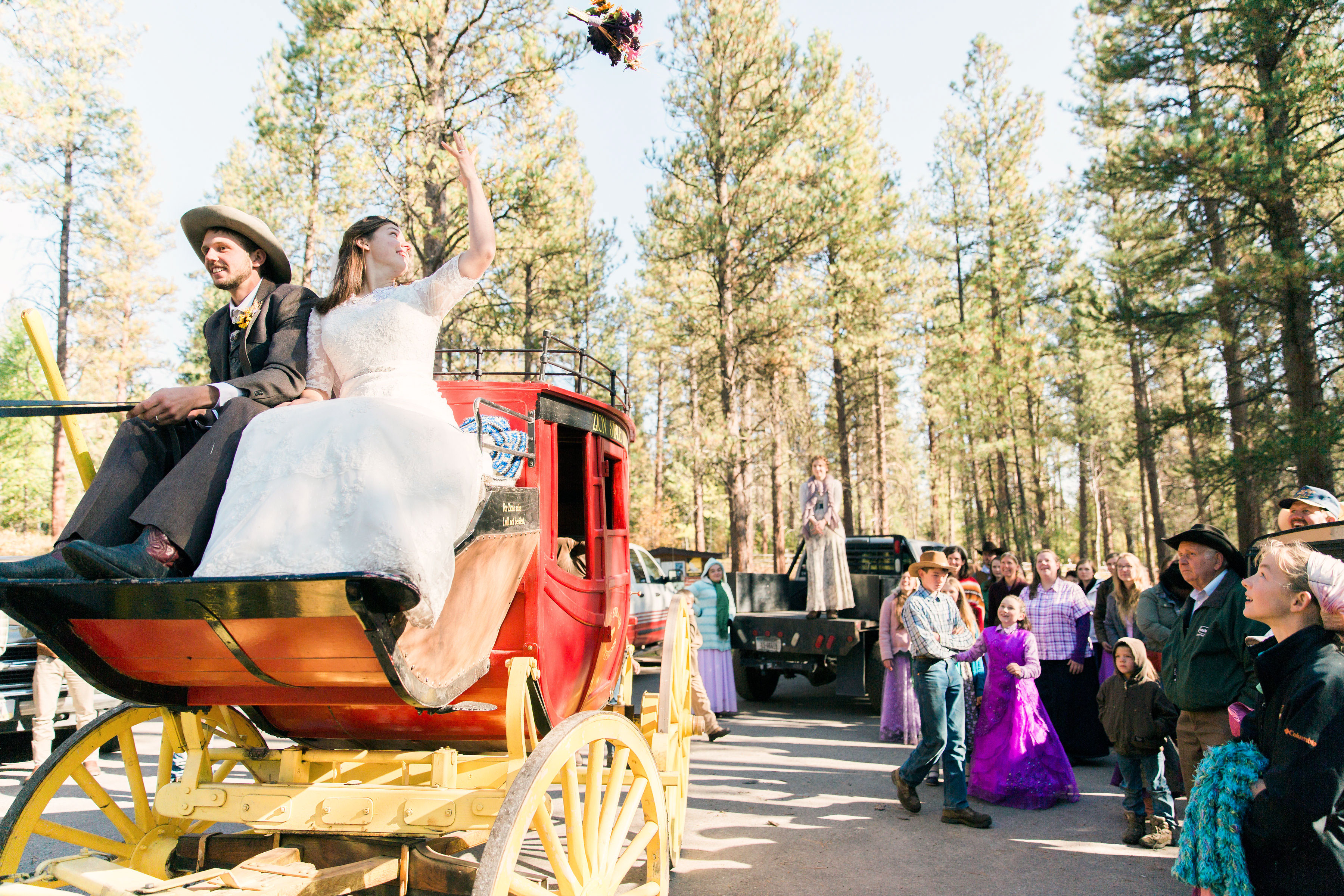 Stagecoach Wedding Backdrop Photos with Zion Stage Line